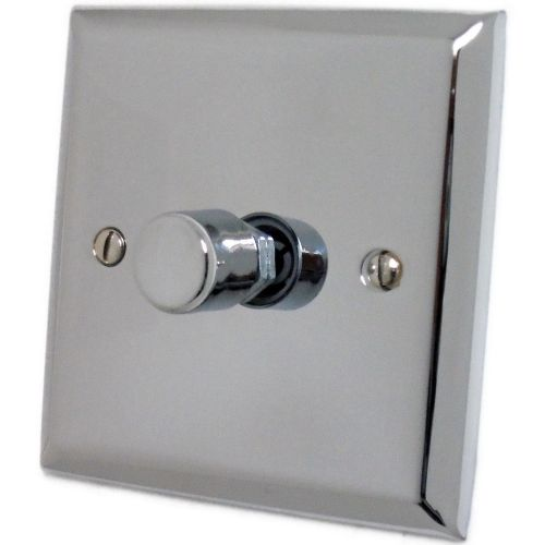 G&H SC15 Spectrum Plate Polished Chrome 1 Gang 1 or 2 Way 700W Dimmer Switch Single Plate